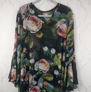 Sheer black big bold roses & leaf tunic shirt